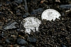 Two white old silver coins lying in black earth stock photography