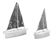 Two White Ornamental Model Boats Stock Image