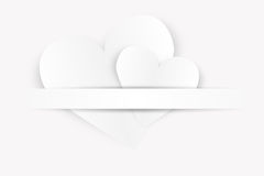 Two white paper hearts Royalty Free Stock Image