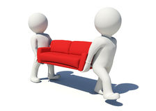 Two white people carrying red sofa. Isolated Stock Image
