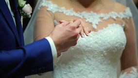 Two White People Groom and Bride Exchange Wedding Rings stock video footage