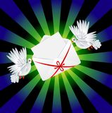 Two white a pigeon is carried envelope stock illustration