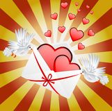 Two white a pigeon is carried envelope with hearts stock illustration