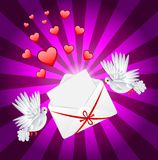 Two white a pigeon is carried envelope vector illustration