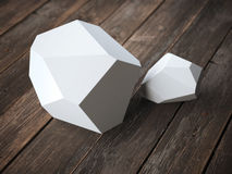 Two white polyhedron Royalty Free Stock Images