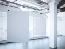 Two white posters in a modern loft. 3d rendering Royalty Free Stock Photography