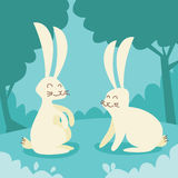 Two White Rabbit Sitting on Grass Retro Forest Stock Images