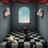 Two white rabbits. Illustration with two rabbits playing chess in  room. Computer graphics Stock Photos