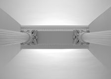Two white renaissance pillars supporting a ceiling, bottom view Royalty Free Stock Photos