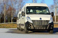 Two White Renault Master Vans in Winter Royalty Free Stock Photo