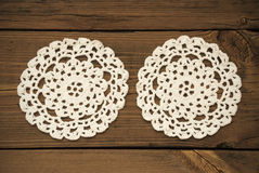 Two White Round Place Mat Stock Images