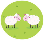 Two white sheep. Stylized  illustration of two white sheep on green meadow. They are looking at each other Stock Photo