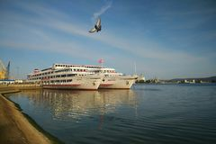 Two white ships at the pier in Togliatti royalty free stock photos