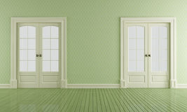 Green vintage room with sliding doors Stock Photos
