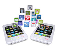 Two white smartphone share applications Stock Photo