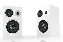 Two white speakers Royalty Free Stock Images