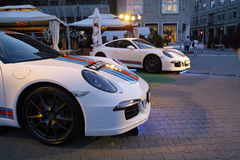 Two white sports cars, Porsche 911 Turbo Royalty Free Stock Photography