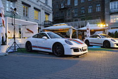 Two white sports cars, Porsche 911 Turbo Stock Photos