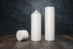 Two white spray paint. Mock up, 3D Rendering Royalty Free Stock Photography