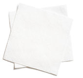 Two white square paper napkins isolated Royalty Free Stock Photography