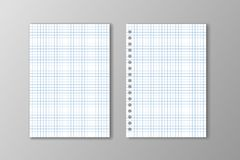Two white square paper sheets on grey background. Two white square paper sheets on grey background stock illustration