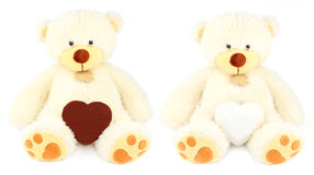 Two white teddy bears and two honey-cakes. Chocolate and sugar in the form of hearts over white royalty free stock image