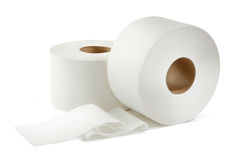 Two white toilet paper rolls Stock Images