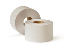 Two white toilet paper rolls Stock Photography