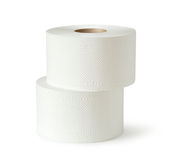 Two white toilet paper rolls Stock Image