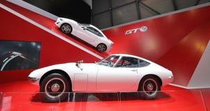 Two white Toyota 2000 GT stock photos
