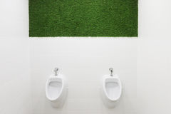 Two white urinals in empty male toilet. With green lawn on wall Royalty Free Stock Photo