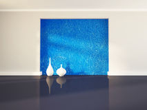 Two white vases near blue wall, 3d Stock Photos