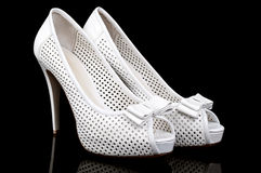 Two white wedding shoes Royalty Free Stock Image