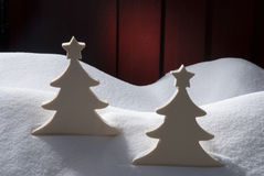 Two White Wooden Christmas Trees, Snow Royalty Free Stock Photography