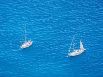 Two white yachts Stock Photos