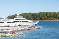 Two White Yachts in Maine Harbor Royalty Free Stock Images