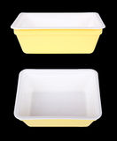 Two white and yellow disposable bowls Royalty Free Stock Photo