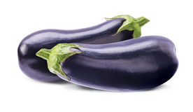 Two whole aubergines  on white Stock Image