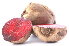 Two whole beetroots on white background stock photography