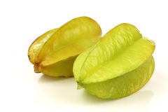 Two whole carambola's  (Averrhoa carambola) Stock Photos