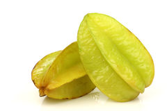 Two whole carambola's  (Averrhoa carambola) Stock Image