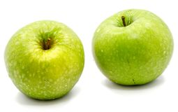 Apple Granny Smith. Two whole green apples Granny Smith isolated on white background Stock Photos