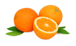 Two whole and a half oranges () Royalty Free Stock Photo