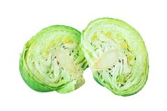 Two green leafy cabbage halves on white background isolated close up, cutted pieces of ripe white cabbage head. Fresh sliced vegetable design element, organic royalty free stock photos
