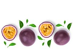 Two whole passion fruits and a half isolated on white background with copy space for your text. Isolated maracuya. Top stock photography