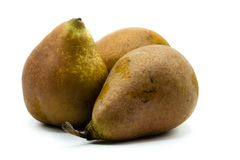 Two whole pears isolated on white background stock images