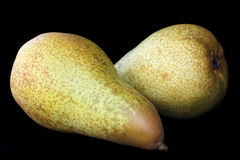 Two whole pears lying down Stock Images
