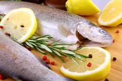 Two whole rainbow trout with spices, red pepper and lemon stock photography