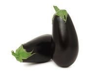 Two whole ripe eggplants (isolated) Royalty Free Stock Images