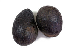 Two Ripe Black Avocados Royalty Free Stock Image